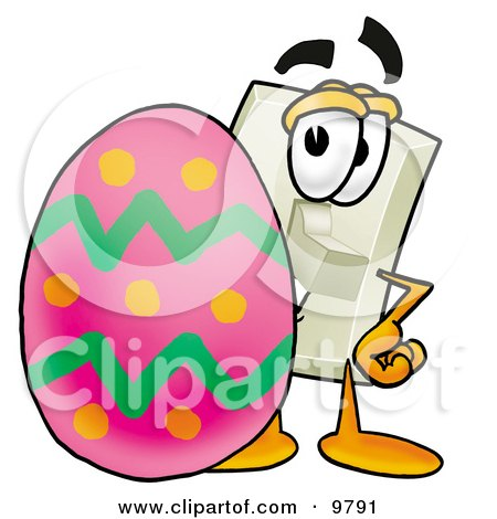 Clipart Picture of a Light Switch Mascot Cartoon Character Standing Beside an Easter Egg by Toons4Biz