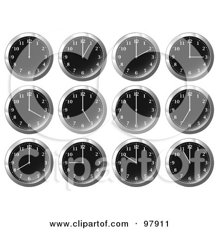 Royalty-Free (RF) Clipart Illustration of a Digital Collage Of Shiny Black Office Wall Clocks At Different Times by michaeltravers