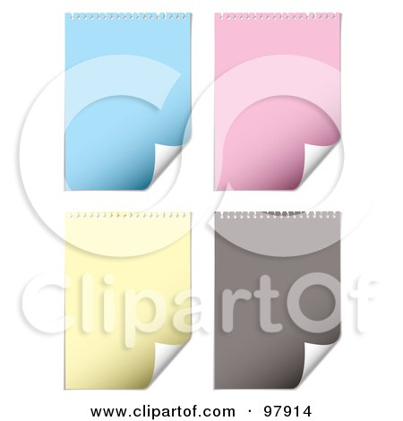 Royalty-Free (RF) Clipart Illustration of a Digital Collage Of Blue, Pink, Yellow And Gray Pages With Turning Corners by michaeltravers