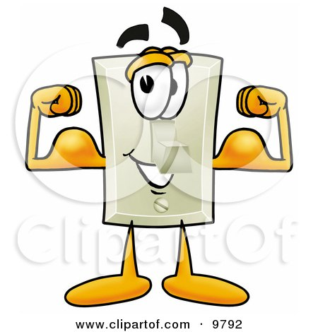 Light Switch Mascot Cartoon Character Flexing His Arm Muscles Posters, Art Prints