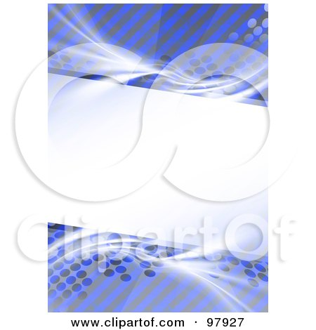 Royalty-Free (RF) Clipart Illustration of a Blank Text Box Bordered With Blue, White And Gray Halftone, Stripes And Fractals by Arena Creative