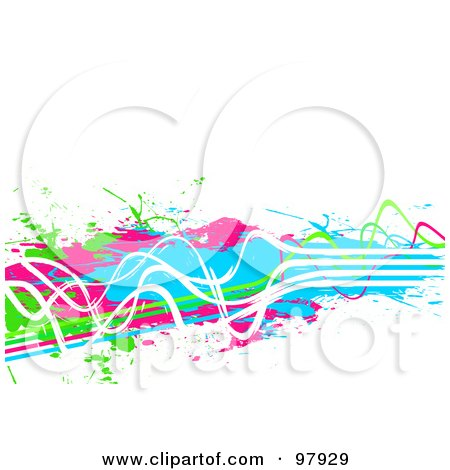 Royalty-Free (RF) Clipart Illustration of a Background Of Grungy Neon Green, Pink, Blue And White Paint Lines And Splatters Over White by Arena Creative