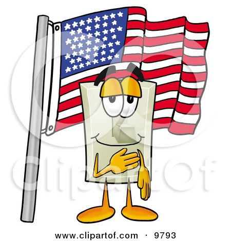 Clipart Picture of a Light Switch Mascot Cartoon Character Pledging Allegiance to an American Flag by Toons4Biz