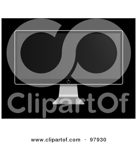 Royalty-Free (RF) Clipart Illustration of a Flat Screen Modern Television With A Black Display by oboy