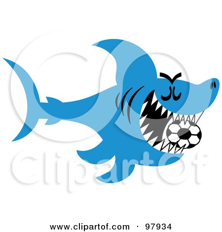 Royalty-Free (RF) Clipart Illustration of a Blue Soccer Shark Swimming With A Ball In His Mouth by Zooco