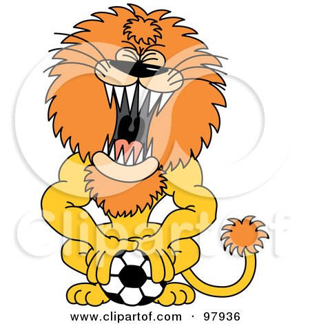 Royalty-Free (RF) Clipart Illustration of a Roaring Lion Pushing Down On A Soccer Ball by Zooco
