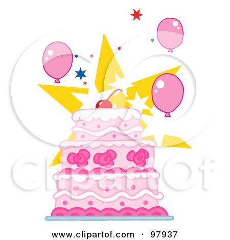 Clipart Layered Birthday Cake With Three Candles Royalty Free
