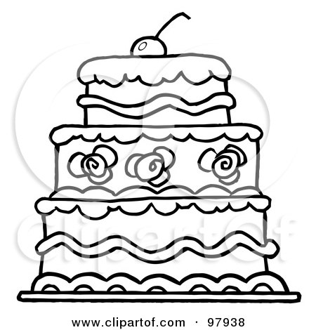 RoyaltyFree RF Clipart Illustration of a Triple Tiered Outlind Wedding