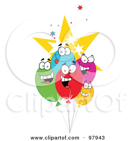 Royalty-Free (RF) Clipart Illustration of a Group Of Party Balloon Faces And Stars by Hit Toon