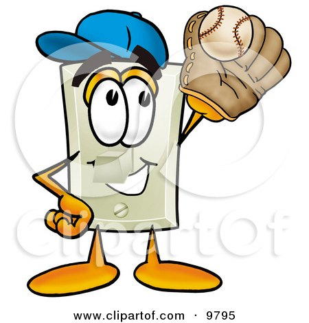 Clipart Picture of a Light Switch Mascot Cartoon Character Catching a Baseball With a Glove by Toons4Biz