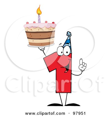 Royalty-Free (RF) Clipart Illustration of a Number One Holding Up A First Birthday Cake by Hit Toon