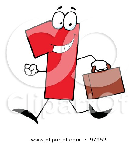 Royalty-Free (RF) Clipart Illustration of a Red Number One Guy Carrying A Briefcase Or Suitcase by Hit Toon