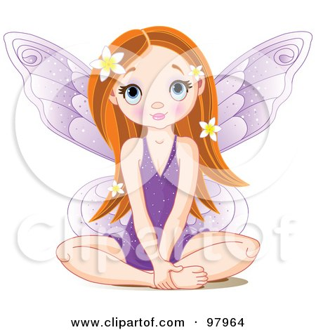 Red Haired Fairy In A Purple Dress, Sitting On The Floor Posters, Art Prints