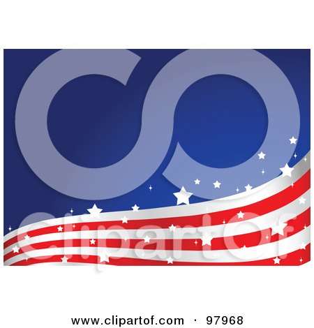 Royalty-Free (RF) Clipart Illustration of a Magical American Flag Wave Background by Pushkin