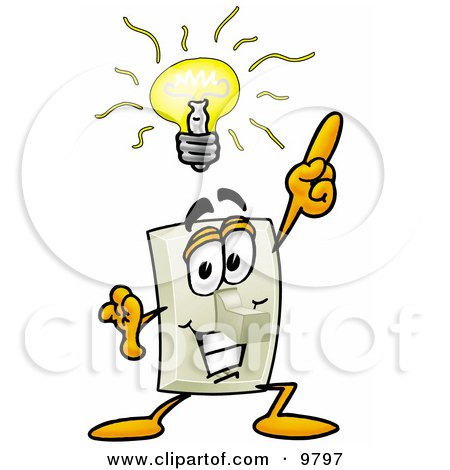 Light Switch Mascot Cartoon Character With a Bright Idea Posters, Art Prints