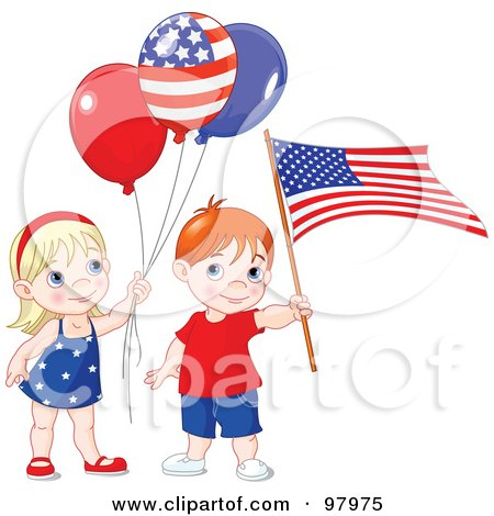 Royalty-Free (RF) Clipart Illustration of a Patriotic Boy And Girl With Balloons And An American Flag by Pushkin