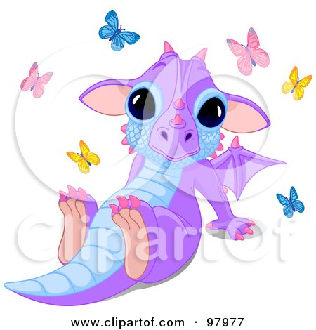 Royalty-Free (RF) Clipart Illustration of a Cute Purple Dragon Sitting Back, Surrounded By Butterflies by Pushkin