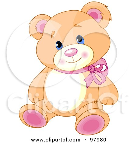 Royalty-Free (RF) Clipart Illustration of an Adorable Teddy Bear With Pink Feet And Ears, Wearing A Red Ribbon by Pushkin