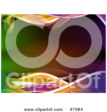 Royalty-Free (RF) Clipart Illustration of Colorful Neon Waves Bordering A Gradient Background by elaineitalia