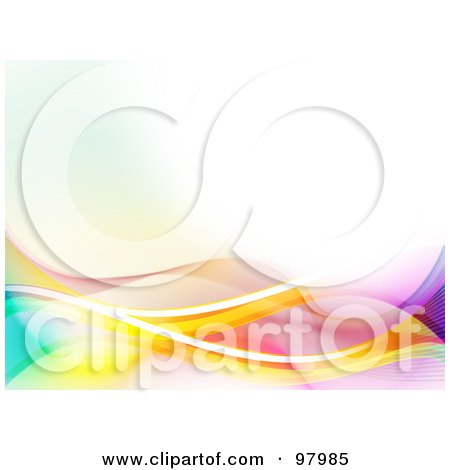 Royalty-Free (RF) Clipart Illustration of a Background Of Neon And Mesh Waves Over White by elaineitalia