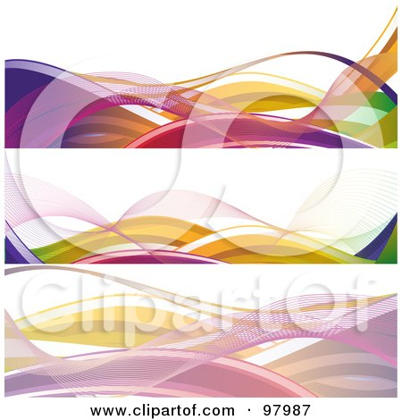Royalty-Free (RF) Clipart Illustration of a Digital Collage Of Three Colorful Neon Wave Website Header Designs, Over White by elaineitalia