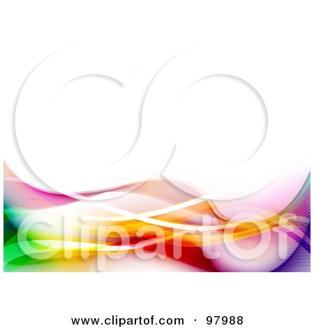 Royalty-Free (RF) Clipart Illustration of a Background Of Colorful Neon And Mesh Waves Over White by elaineitalia