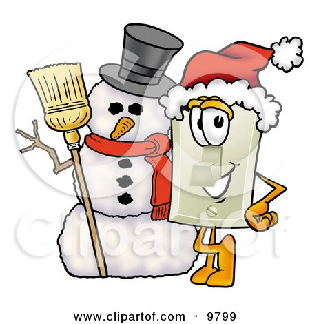 Light Switch Mascot Cartoon Character With a Snowman on Christmas Posters, Art Prints