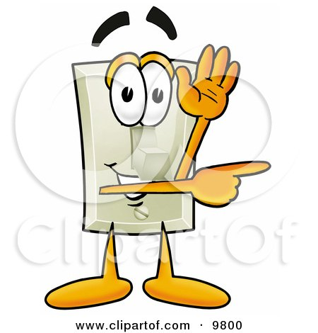 Clipart Picture of a Light Switch Mascot Cartoon Character Waving and Pointing by Toons4Biz
