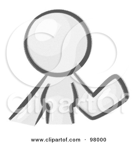 Royalty-Free (RF) Clipart Illustration of a Sketched Design Mascot Woman Avatar Waving by Leo Blanchette