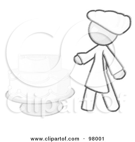 Royalty-Free (RF) Clipart Illustration of a Sketched Design Mascot Woman Wedding Cake Maker by Leo Blanchette