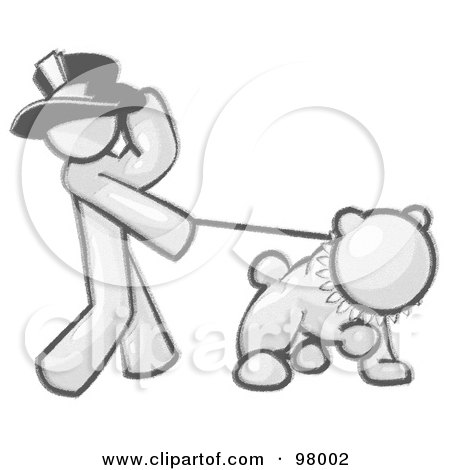Royalty-Free (RF) Clipart Illustration of a Sketched Design Mascot Man Character Wearing A Hat And Walking A Bulldog With A Spiked Collar by Leo Blanchette