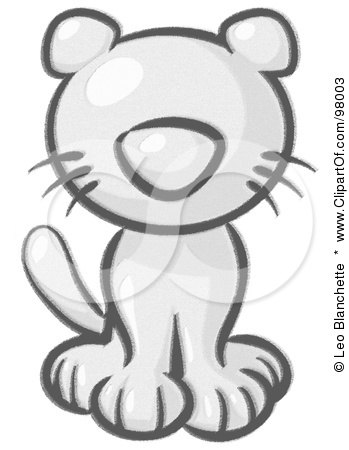 Royalty-Free (RF) Clipart Illustration of a Sketched Sitting Kitten by Leo Blanchette