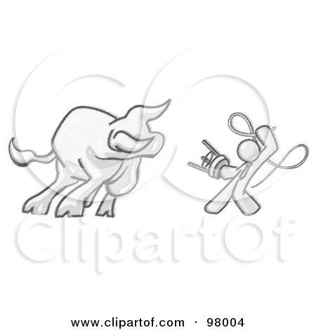 Royalty-Free (RF) Clipart Illustration of a Sketched Design Mascot Man Holding A Stool And Whip While Taming A Bull by Leo Blanchette