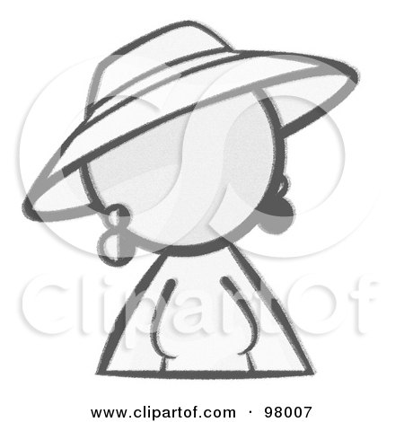 Royalty-Free (RF) Clipart Illustration of a Sketched Design Mascot Woman Avatar In A Dress And Hat by Leo Blanchette