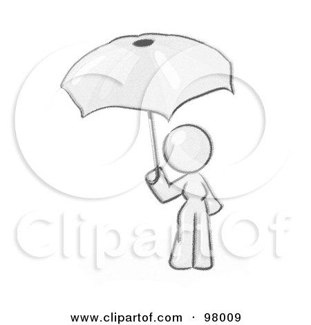 Royalty-Free (RF) Clipart Illustration of a Sketched Design Mascot Woman Under An Umbrella by Leo Blanchette