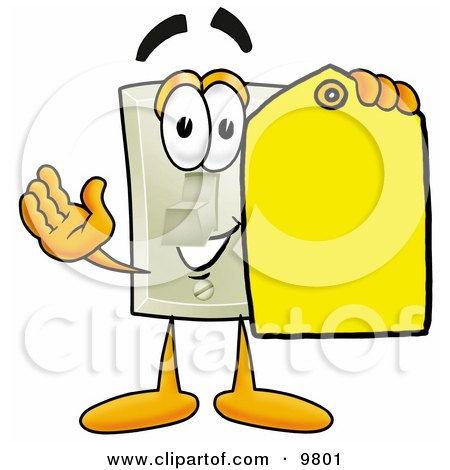 Clipart Picture of a Light Switch Mascot Cartoon Character Holding a Yellow Sales Price Tag by Toons4Biz