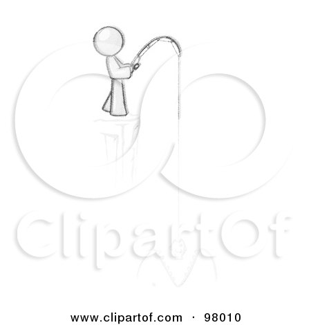 Royalty-Free (RF) Clipart Illustration of a Sketched Design Mascot Fishing On A Cliff by Leo Blanchette