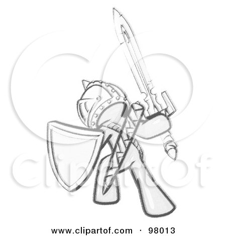 Royalty-Free (RF) Clipart Illustration of a Sketched Design Mascot Man Ultimate Warrior With A Sword And Shield by Leo Blanchette