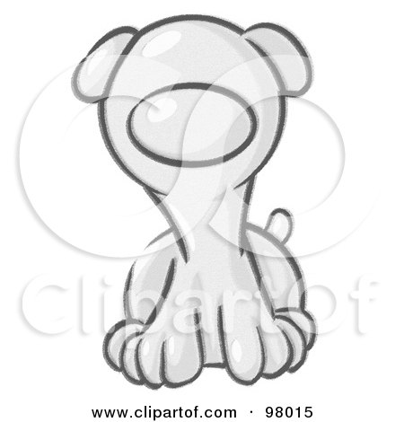Royalty-Free (RF) Clipart Illustration of a Sketched Puppy Dog Sitting by Leo Blanchette