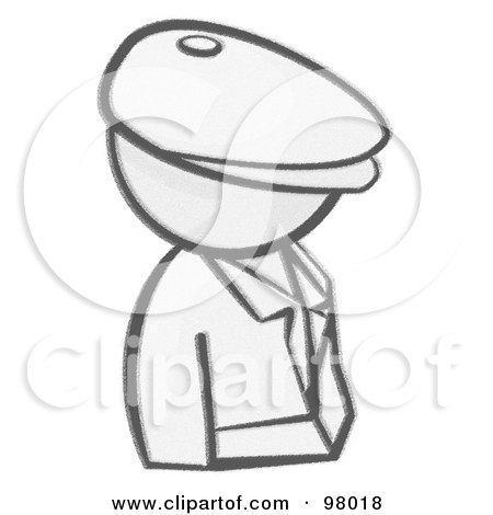 Royalty-Free (RF) Clipart Illustration of a Sketched Design Mascot Man Avatar Detective by Leo Blanchette
