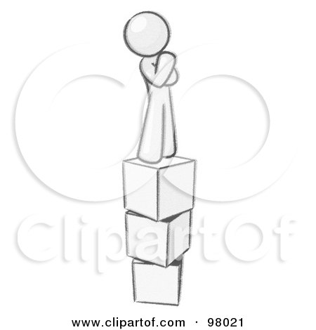 Royalty-Free (RF) Clipart Illustration of a Sketched Design Mascot Thinking And Standing On Blocks by Leo Blanchette
