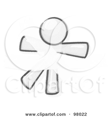 Royalty-Free (RF) Clipart Illustration of a Sketched Design Mascot Man Restrained With Tape by Leo Blanchette