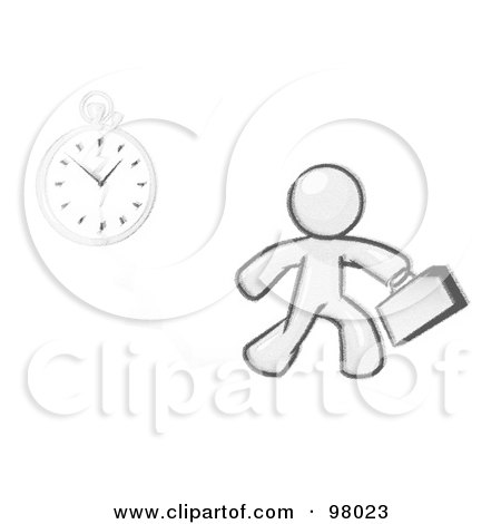 Royalty-Free (RF) Clipart Illustration of a Sketched Design Mascot Man Running Late For Work Over A Crack With A Clock by Leo Blanchette