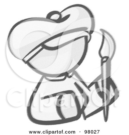 Royalty-Free (RF) Clipart Illustration of a Sketched Design Mascot Woman Avatar Artist Holding A Paintbrush by Leo Blanchette