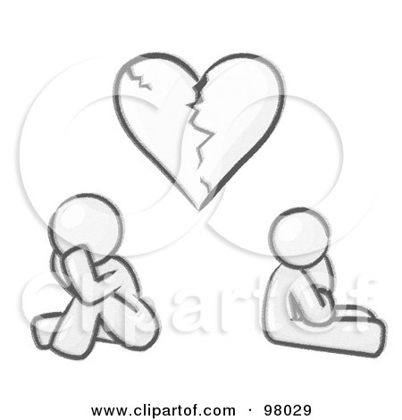 Royalty-Free (RF) Clipart Illustration of a Sketched Design Mascot Man And Woman Under A Broken Heart by Leo Blanchette