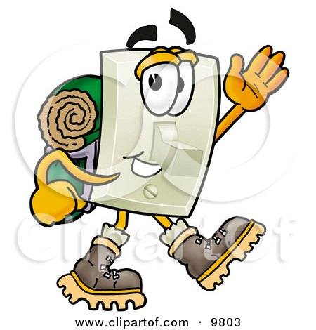 Light Switch Mascot Cartoon Character Hiking and Carrying a Backpack Posters, Art Prints
