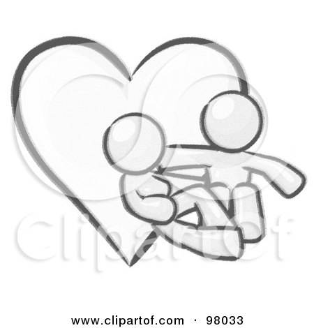 Royalty-Free (RF) Clipart Illustration of a Sketched Design Mascot Couple Embracing In Front Of A Heart by Leo Blanchette