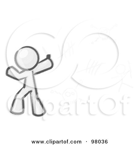 Royalty-Free (RF) Clipart Illustration of a Sketched Design Mascot Man Writing Tribal Designs On A Wall by Leo Blanchette