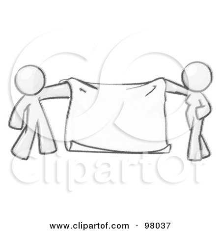 Royalty-Free (RF) Clipart Illustration of a Sketched Design Mascot Man And Woman Holding A Blank Banner by Leo Blanchette