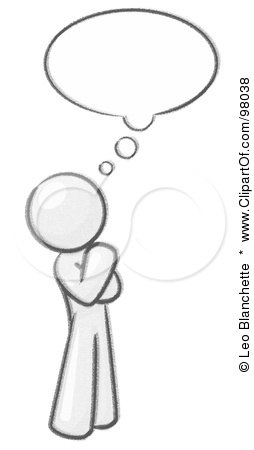 Royalty-Free (RF) Clipart Illustration of a Sketched Design Mascot Man In Thought With A Bubble by Leo Blanchette